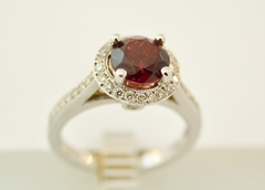 Garnet and Diamond Halo Ring, Set in 14k White Gold