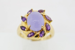 Lavender Jade and Amethyst Ring in 14k Yellow Gold