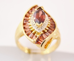 Garnet Ring with Diamond Accents in 14k Yellow Gold