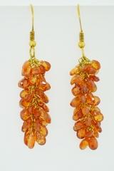 Manderine Garnet Dangle Earrings on 18k Yellow Gold