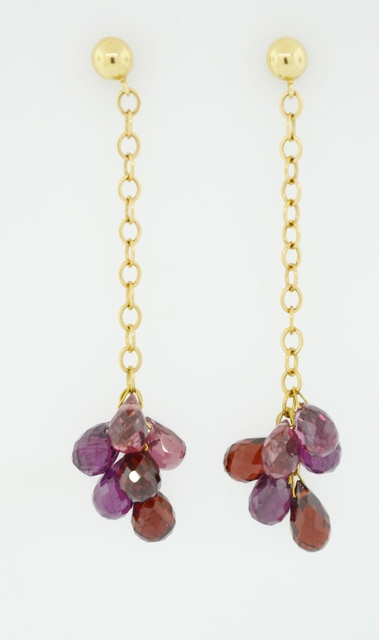 Rhodolite Garnet Earrings on 14k Yellow Gold