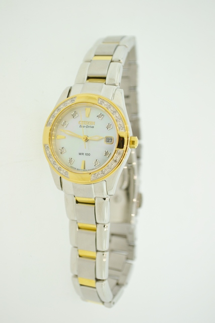 Two Tone Stainless Steel Citizen Eco-Drive Watch with Accent Diamonds and Mother of Pearl Face
