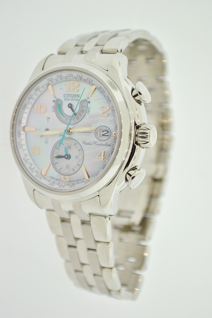 Stainless Steel Citizen Eco-Drive Watch with Mother of Pearl Face