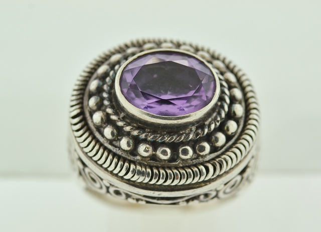 Sterling Silver Bezel-set Amethyst Ring
