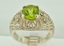 Sterling Silver Peridot and Marcasite Ring with Filigree Pattern and Milgrain Finish
