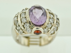 Sterling Silver Amethyst and Cubic Zirconia Ring with Belzel-set Round Garnets