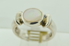 Sterling Silver Round Mother Of Pearl Ring