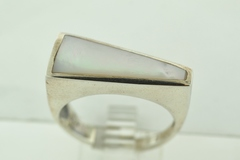 Sterling Silver Trilangular Mother Of Pearl Inlay Ring