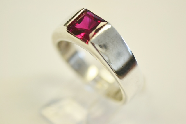 Sterling Silver Synthetic Ruby Solitaire Ring