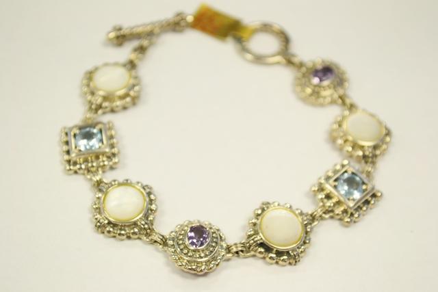 Sterling Silver Bracelet with Genuine Gemstones