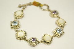 Sterling Silver Bracelet with Genuine Gemstones