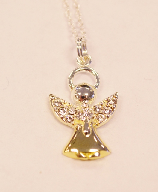 Sterling Silver Angel Pendant with Cubic Zirconia