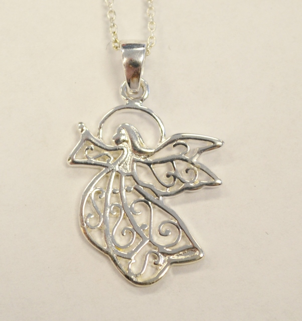Sterling Silver Angel Pendant on Link Chain