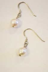 Sterling Silver Pearl Dangle Earrings