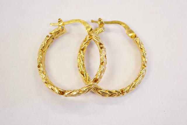 Vermiel Sterling Silver Hoop Earrings with Bizentine Pattern