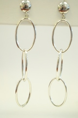 Sterling Silver Dangle Earrings with 3 Oval Hoops