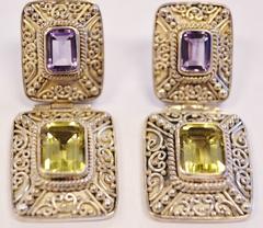 Sterling Silver Genuine Gemstone Dangle Earrings