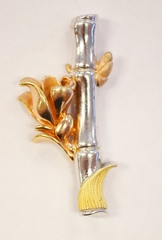 Tri-colored Sterling Silver Vermeil Bamboowith Flower Pendent
