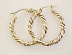 Sterling Silver Twist Style Hoop Earrings