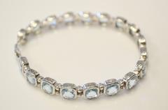 Sterling Silver Blue Topaz Tenis Bracelet