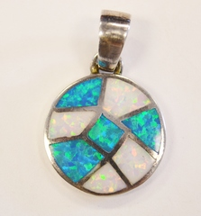 Sterling Silver Lab Opal Pendant