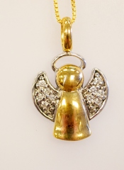 Two Tone Sterling Silver Vermeil Angel Pendant with 10 Round Cubic Zirconia