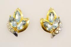 Blue Topaz Diamond Earring, in 14k Two Tone Gold