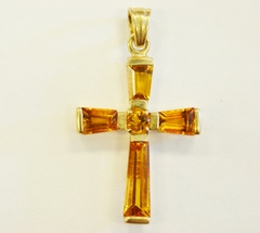 Citrine Cross Pendant in 10k Yellow Gold