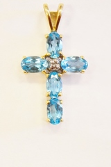 Blue Topaz Cross Pendant with Diamond Accent in 10k Yellow Gold