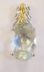 Green Amethyst Pendant set in 18k Two Tone Gold