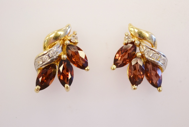 Garnet and Diamond Earrings in 14k Two Tone
