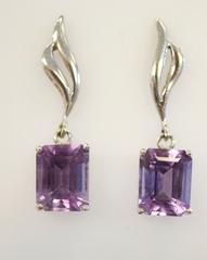 Amethyst Dangle Earrings in 14k White Gold