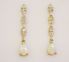 Opal Dangle Earrings with Diamond Accents in Yellow Gold