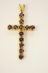 Amethyst Cross Pendant in 14k Yellow Gold