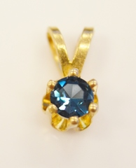 London Blue Topaz Pendant in 14k Yellow Gold