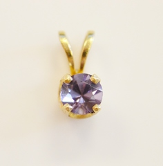 Round Amethyst Pendant in 14k Yellow Gold