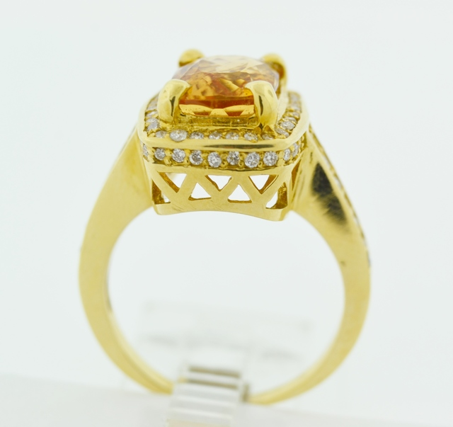 Imperial Topaz and Diamond Ring in 18k Yellow Gold
