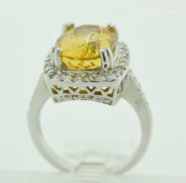 Imperial Topaz and Diamond Ring in 18k White Gold
