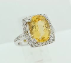 Imperial Topaz and Diamond Ring in 18k White Gold