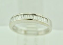 Channel set Baguette cut Diamond Band in 14k White Gold