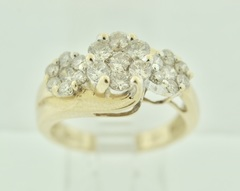 Cluster Flower Style Diamond Ring in 10k Yellow Gold