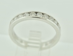 Beautiful Round Brilliant-cut Diamonds Channel Band in 14k White Gold