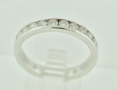 Beautiful Round Brilliant-cut Diamonds Channel Band in 14k White Gold