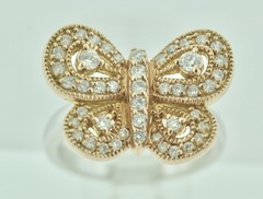Butterfly Diamond Ring in 14k Two Tone Gold