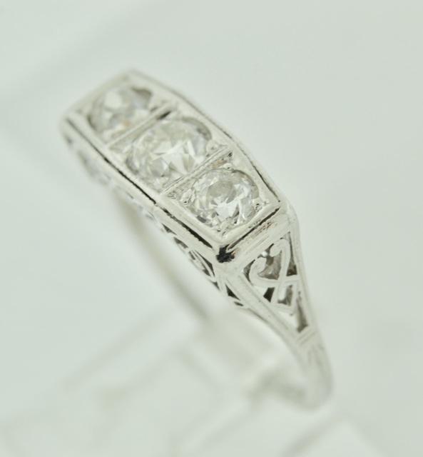 Beautiful Platinum Diamond Engagement Ring with Filigree and Milgrain finish