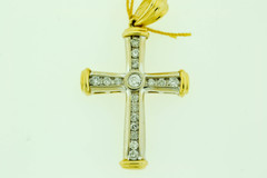 Bezel Set and Channel set Round Brilliant cut Diamond Cross Pendant in 14k Two Tone Gold