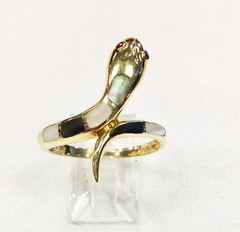 Snake Ring with Natural Gemstones set in 14k Yellow Gold