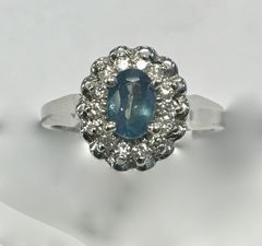 Natural Alexandrite and Diamond Halo Ring in 18k White Gold