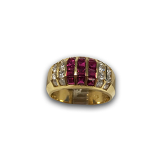 Multi Channel Ruby and Diamond Ring, in 18k Yellow Gold