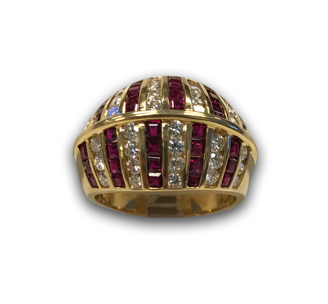 Domed Ruby and Diamond Ring in 18k Yellow Gold